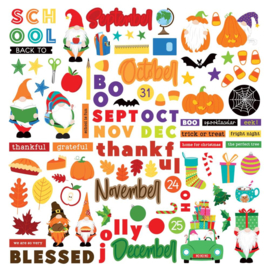 Gnome Calendar Stickers Elements, September-December