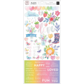Bloom Street Cardstock Stickers Iridescent Foil Accents