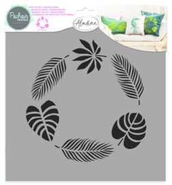 Textile Stencil Jungle Wreath