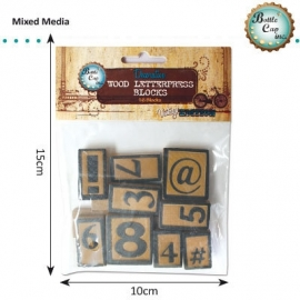 Numbers symbols letter press