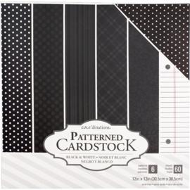 """Value Pack Patterned Cardstock Black 12""""X12"""""""