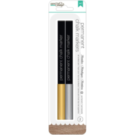 Permanent Chalk Markers Gold & Silver/Broad Tip