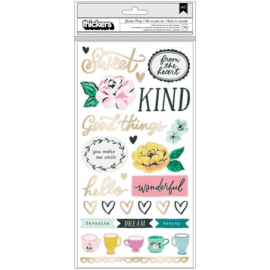 Garden Party Thickers Stickers Lovely Phrase & Icons/Puffy