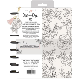 """Day-To-Day Undated Freestyle Planner 7.5""""X9.5"""" Black & White Floral"""