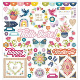 Wonders Chipboard Stickers Icons & Phrase