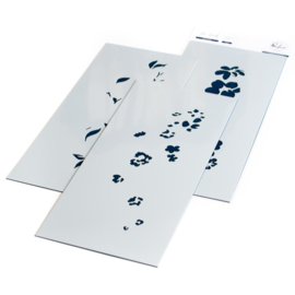 "Floral Notes Stencils 4""X9"""