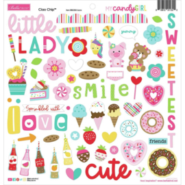"My Candy Girl Chipboard Stickers 12""X12"" Icons"