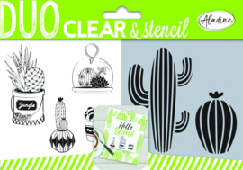 Duo Clear Stamps & Stencil Cactus