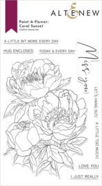 Stamp Paint-A-Flower: Coral Sunset Outline