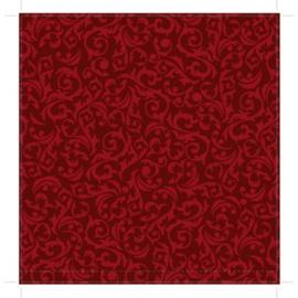 Patterned single-sided red damask