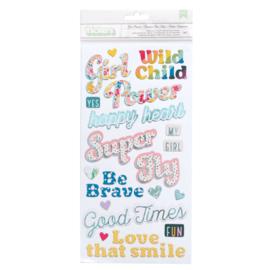 Wild Child girl power phrase stickers