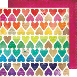 "Color Kaleidoscope Dbl-Sided Cardstock 12""X12"" Paper Hearts"
