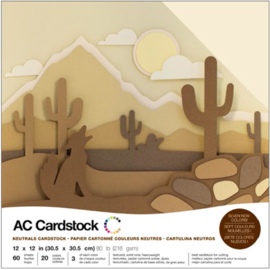 "Variety Cardstock Pack Neutrals 12""X12"""