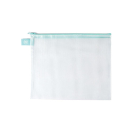 Zippered Vinyl Mesh Pouch Aqua-Small