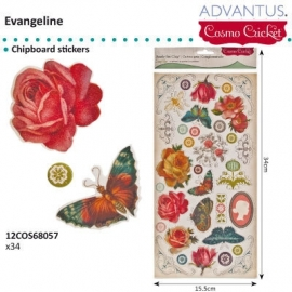 Evangeline chipboard stickers x34