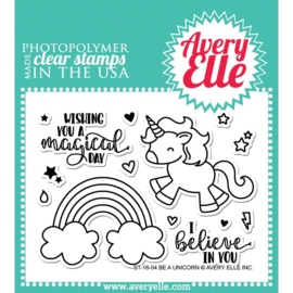 "Clear Stamp Set  Be A Unicorn 4""X3"""