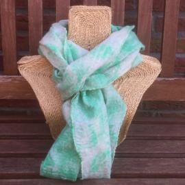 Zijden shawl gevilt met merino-wol
