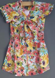 Zero jeans bloemen jurk roze Maat 86