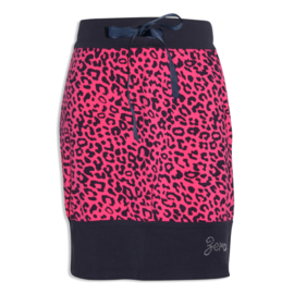 Zero Jeans rokje leopard navy/fuchsia