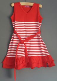 Ziezoo jurkje rood/wit (maat 104)