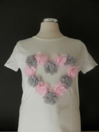 Zero shirt off white met hart van bloemen 152/158