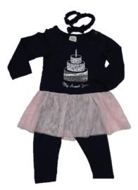 Zero 2-delig set, jurkje en legging (navy) maat 74