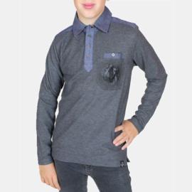 RG Poloshirt lange mouwen (grijs)