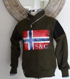 S&C trui met vlag (army) maat 104/110