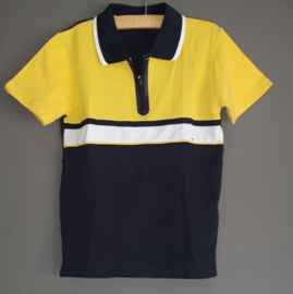 Poloshirt blauw/wit/geel