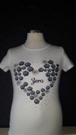 Zero jeans shirt met hart van rozen