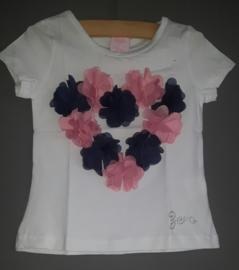 Zero jeans shirt met hart van bloemen (wit) maat 80/86