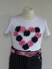 Zero jeans shirt met hart van bloemen (wit)
