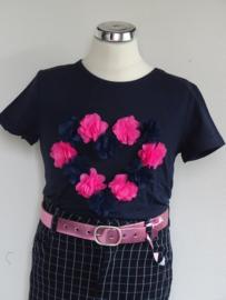 Zero jeans shirt met hart van bloemen (navy) maat 80/86