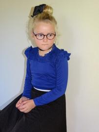 Kids up shirt met kant en roezels  blauw