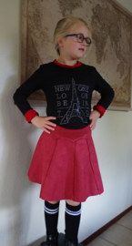 Suedine rok (rood) maat 152