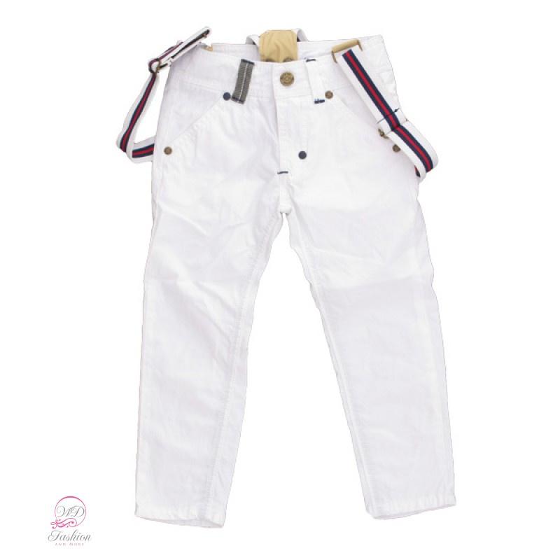 Doerak broek met bretels (wit) maat 140