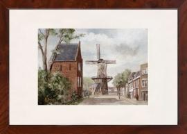 Delft Bagijnetoren met molen de Roos