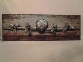Metalen 3-D  Schilderij  ( Vliegtuig )