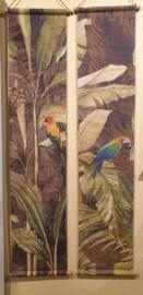 Wanddoeken canvas palmboom met papagaaien set van 2