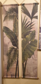 Wanddoeken canvas palmboom set van 2