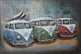 Metalen 3-d schilderij (  3 vw model bussen )