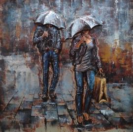 Metalen 3-D  Schilderij  (    man en vrouw in regen met paraplu )