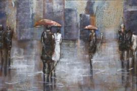 Metalen 3-D schilderij ( mensen met paraplu in regen )