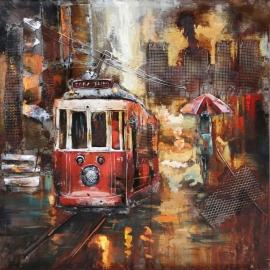 Metalen  3-D schilderij ( Tram )