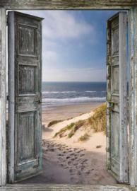 XL Poster indoor&outdoor openstaande deuren/strand