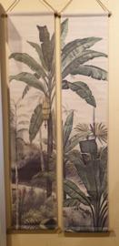 Wanddoeken canvas bananenboom set van 2
