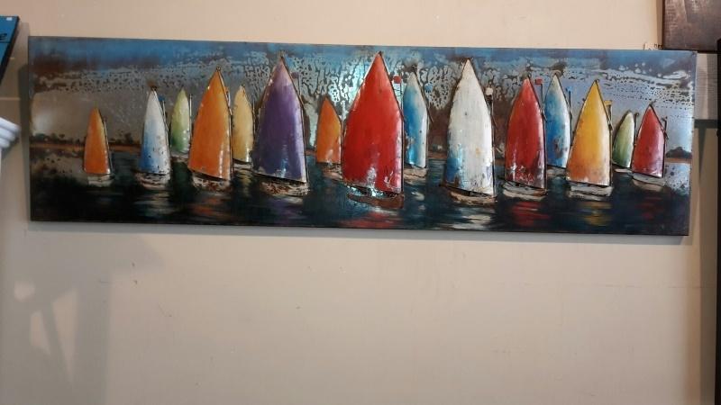 Metalen 3-d schilderij (  Zeilbootjes )