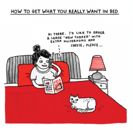 """How to get what you really want in bed"" - by Gemma Correll - folded stationery card"