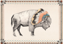 """White Bison"" - designed by Sandra Dieckmann - folded stationery card"