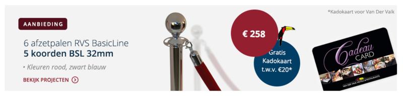 Package deal BasicLine 6x paal - 5x koord en een kadokaart € 258,00